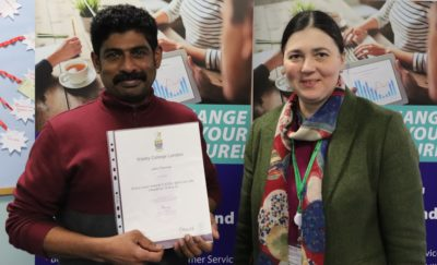 Esol Learner receives certificate from tutor