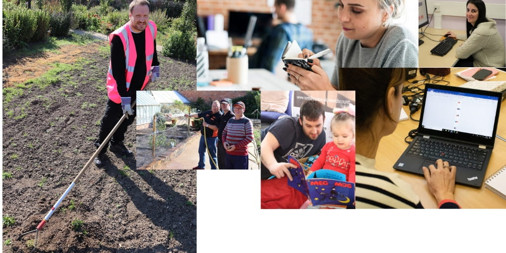 Montage of people doing jobs outside and inside