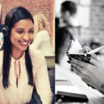 Young woman looking in diary and another young woman on a call with headset